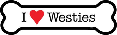 "WESTIES Dog Bone Car Magnet 2/"" x 7/"" USA Made I Heart Love"