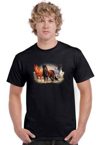 Men/'s T Shirt Three Horses Short Sleeve Tee