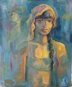 Oil painting IMPRESSIONISM SELF-PORTRAIT ORIGINAL