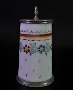antiker Glaskrug / Milchglaskrug um 1800 - Zinnmontur