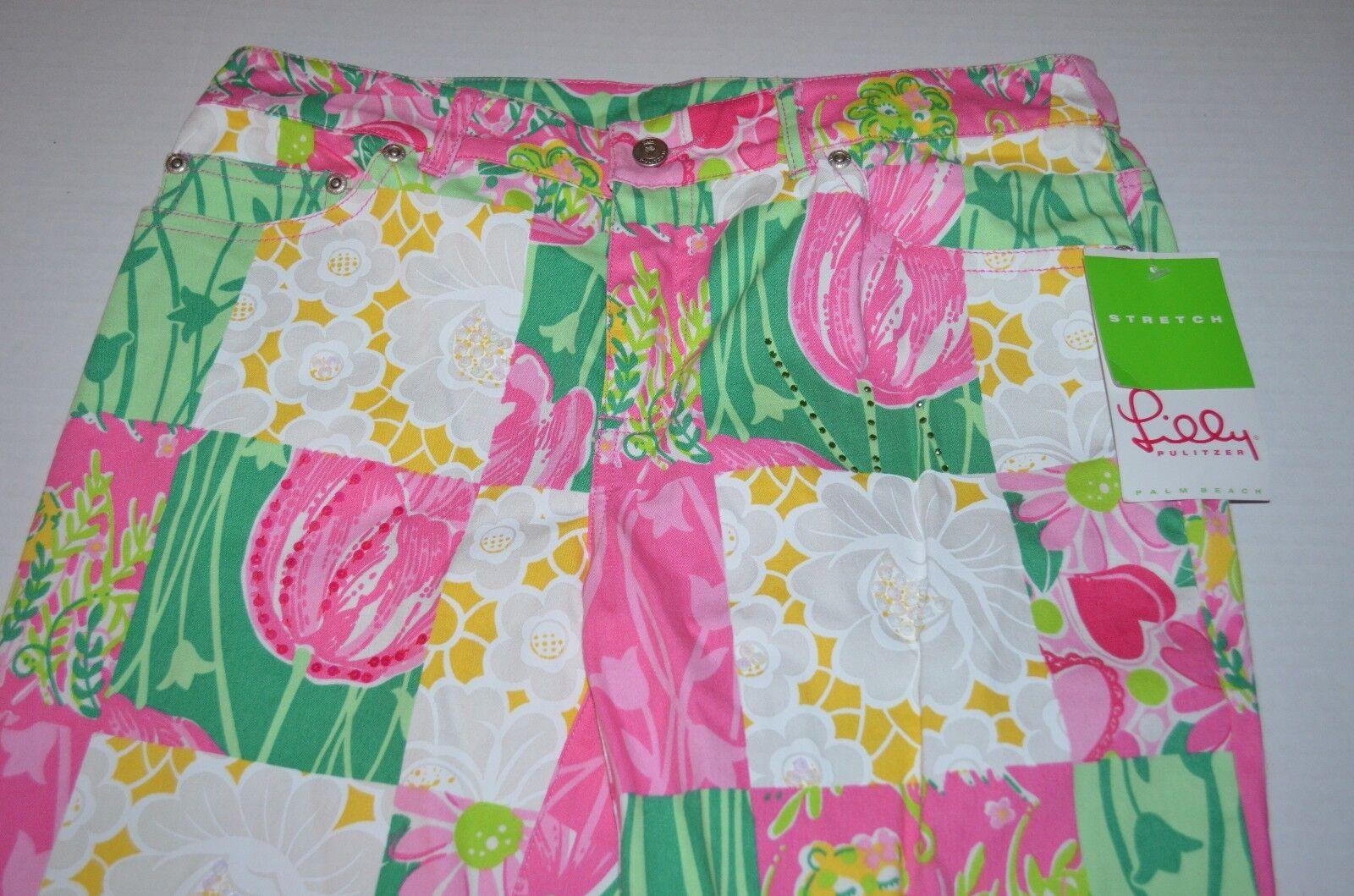 Lilly Pulitzer Pantalon 6 Stretch Serene Sparkle Jean Multi Derby patch  228 nouveau