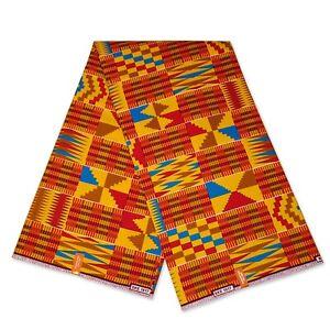 Tela Impresión Kente 6 yardas Ghana Africano-Nuevo
