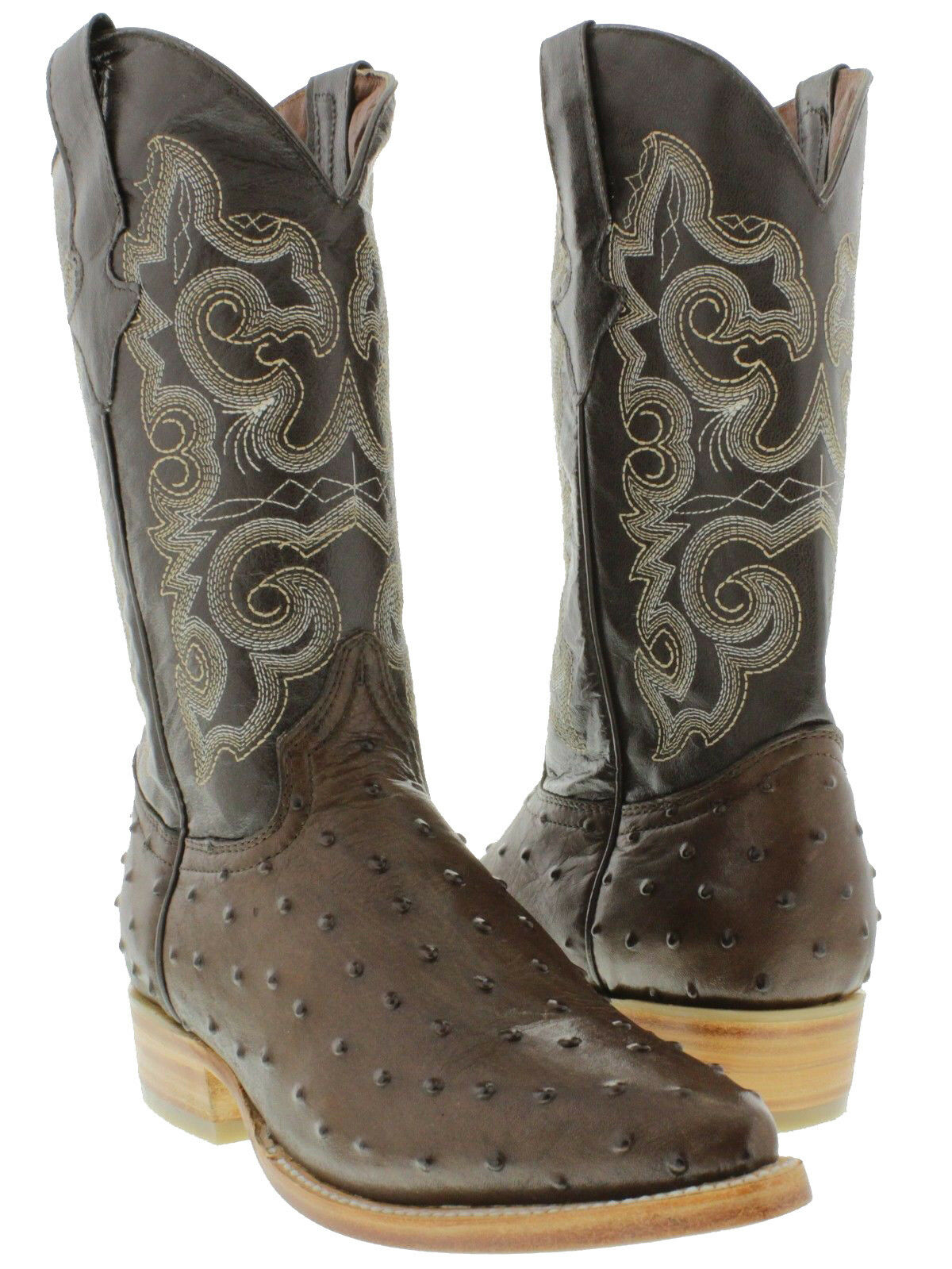 Men's Exotic Ostrich Quill Design Brown Leather Cowboy Boots Western Rodeo J Toe