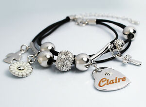 White gold charm name claire bracelet birthday christmas easter image is loading white gold charm name claire bracelet birthday christmas negle Gallery