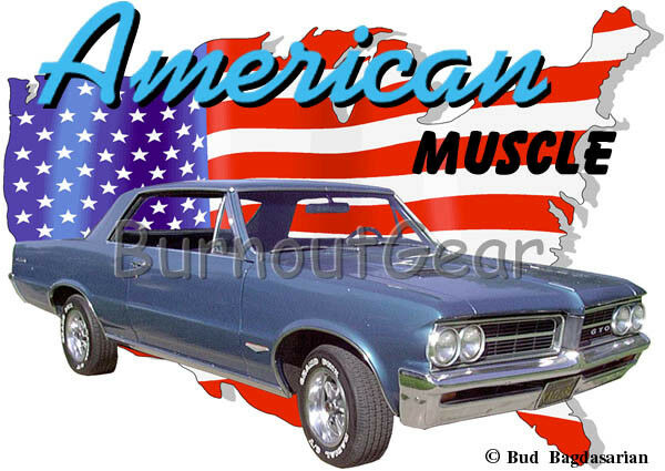 1964 Blau Pontiac GTO Custom Hot Rod USA T-Shirt 64 Muscle Car Tees