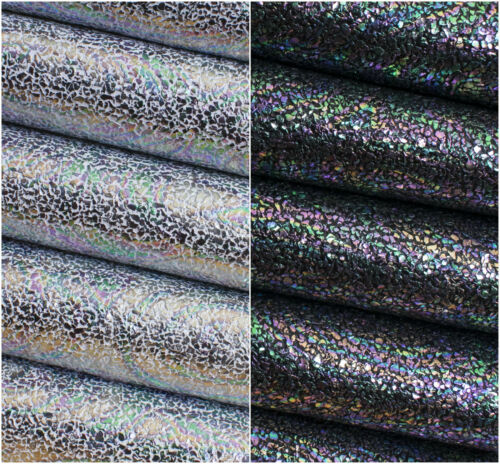 Faux Leather Crafts and Bows Oil Slick Jewels Metallic Leatherette Fabric