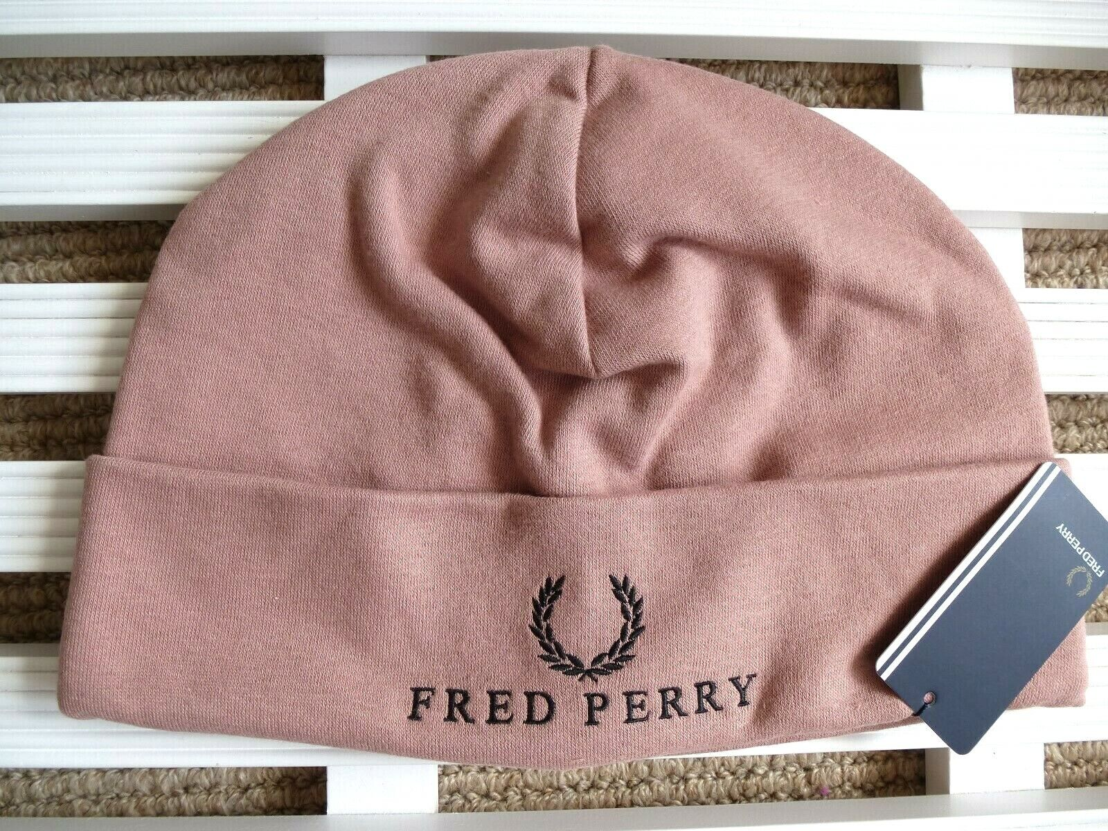FRED PERRY Dull Pink Cuff Beanie Hat Toque Hat OSFA UNISEX TAGS