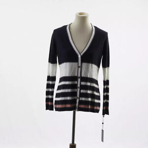 Tommy-Hilfiger-Navy-Blue-And-White-Striped-Sparkly-Cardigan-Size-Small-NWT