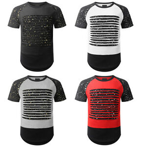 Mens Longline T-Shirt  Badged And Rips Fashion Summer Tee