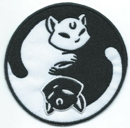Cat YinYang Embroidered Patch Ironon Motif