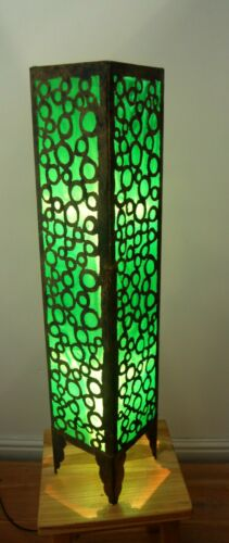 80cm From Bali Floor Standing Standard Lamp In Metal And Green Fabric