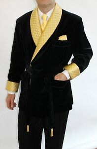 Men-Quilted-Black-Velvet-New-Smoking-Blazer-Evening-Host-Wear-Dinner-Jacket-Coat