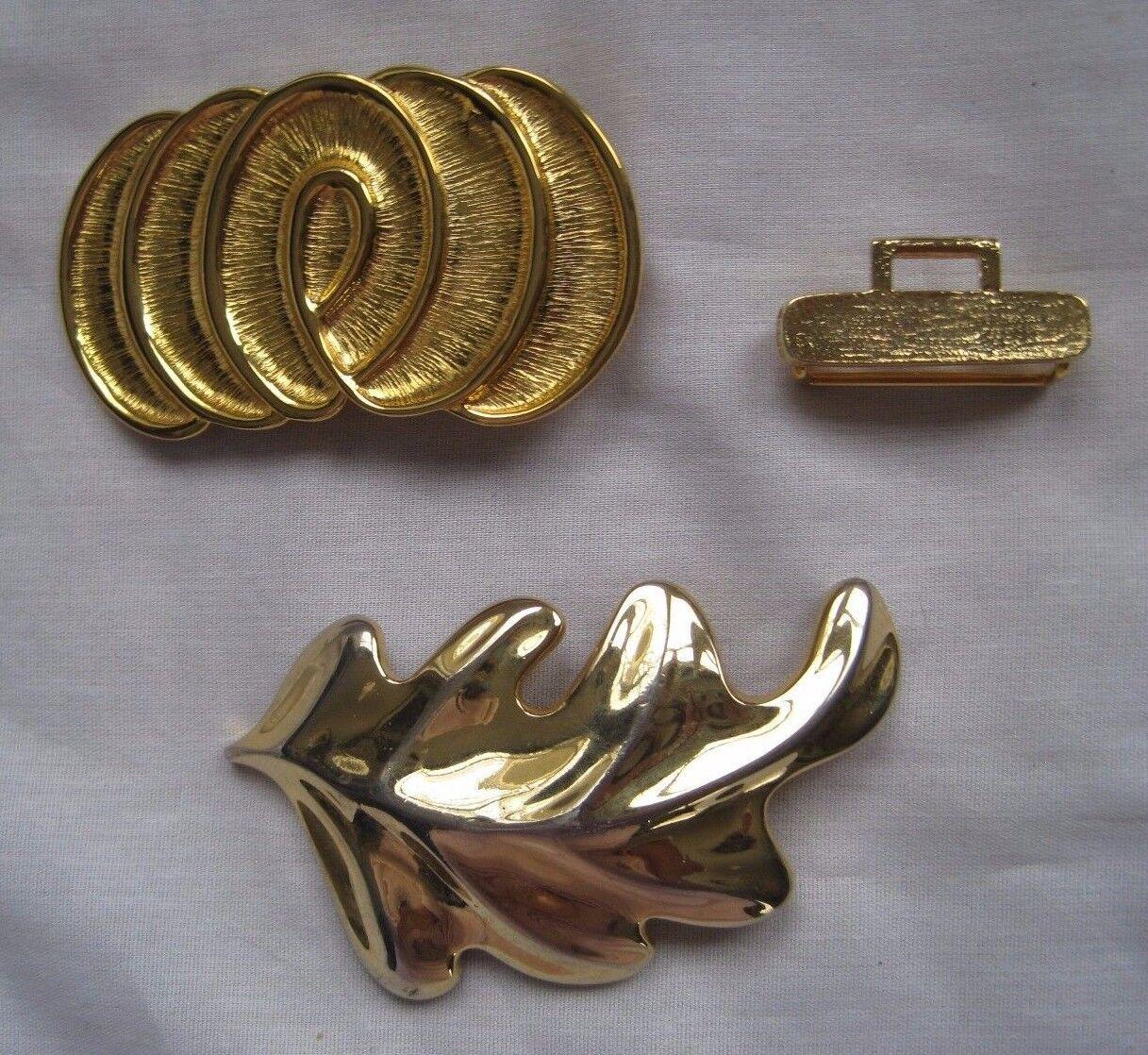 VINTAGE Douglas Paquette Gold Metal Leaf Abstract Belt Buckles 4