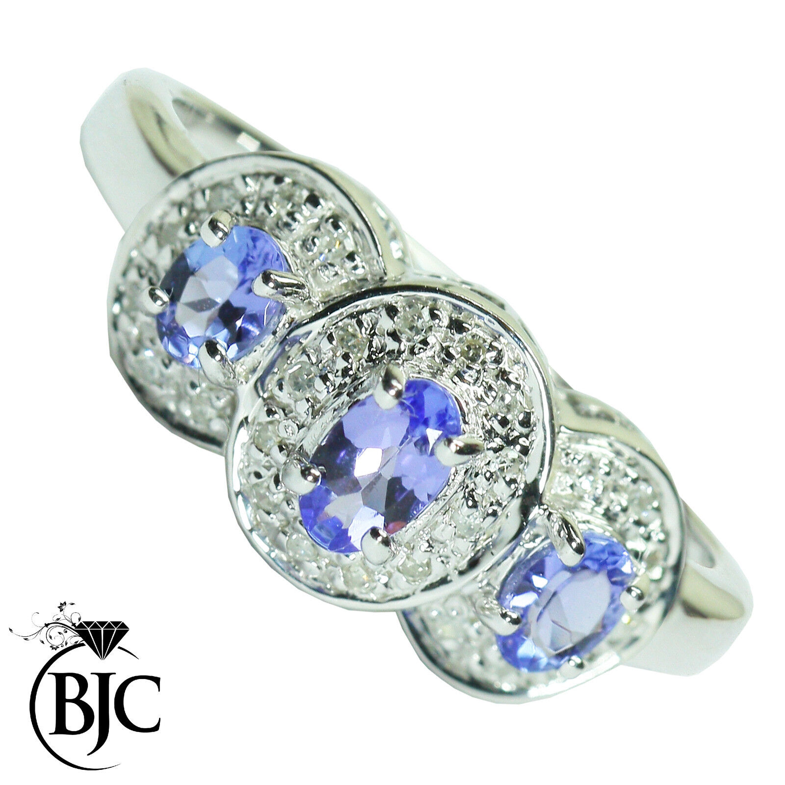 Bjc 9 Ct White gold Tanzanite & Cluster Diamant size O Bague Grande Occasion