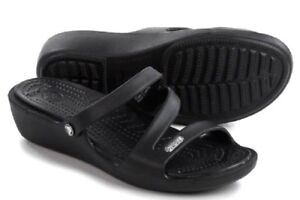 5ac01d95eacbed Image is loading Crocs-Patricia-Wedge-Sandal-Black-Women-6-7-