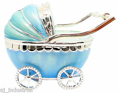 BABY BOY BLUE PRAM MONEY BOX - KEEPSAKE BIRTHDAY NEW BORN CHRISTENING GIFT