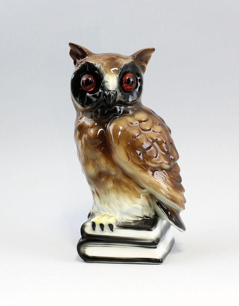 9943024 Porzellan Figur Eule auf Bücherstapel Gräfenthal  H21cm