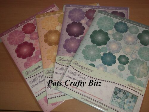 Hunkydory Cottage Garden Glitter Bouquet Floral Embellishments Various Colours