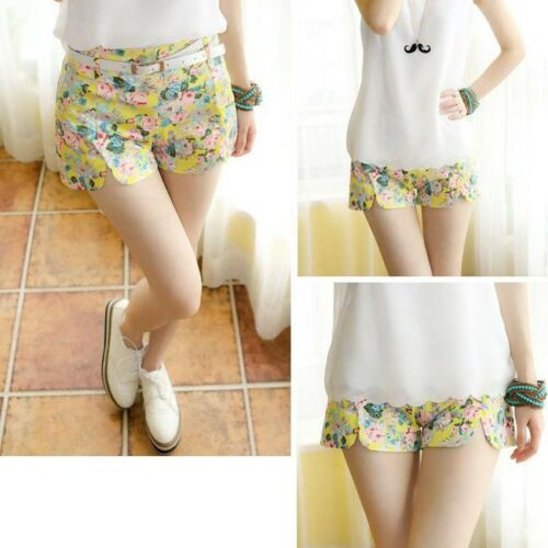 Women/'s Blooming Flowers Floral Print High Elastic Waist Shorts Mini Short Pants