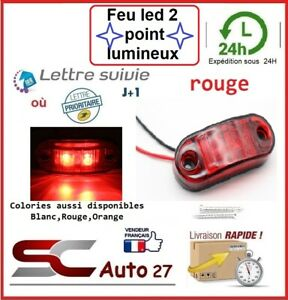 Feu de jour LED véhicule/remorque alimentation  9v à 30v 2 point lumineux rouge