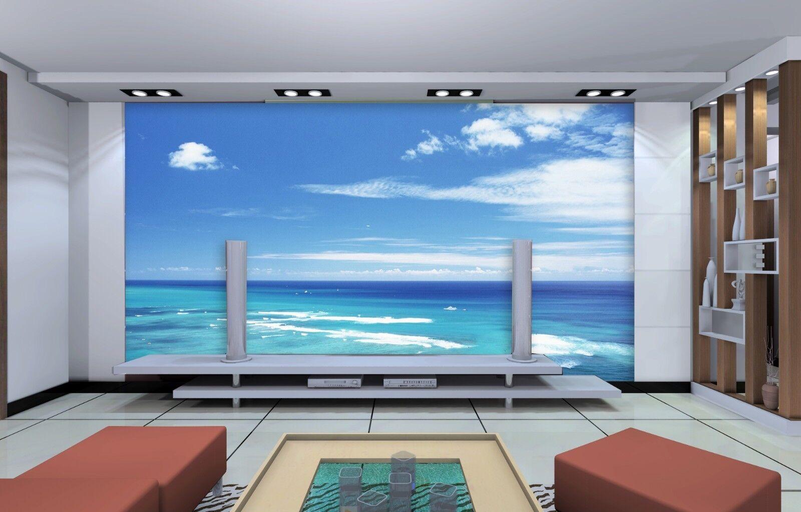 3D blueer Himmel Meer 7793 Tapete Wandgemälde Tapeten Bild Familie DE Jenny