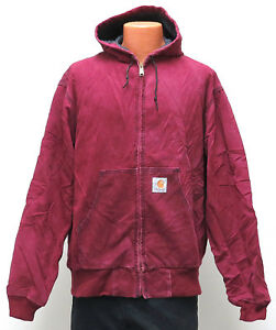 detailed look on feet at ever popular Details about vtg Carhartt Cherry Red HOODED ACTIVE JACKET Quilted Lining  XL 90s JQ281 usa