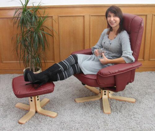 Relax fauteuil fauteuil télé confortable fauteuil sans tabouret h56 cuir synthétique bordeaux