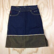 FUBU The Collection Blue and Gold Denim Skirt Size W3/4 (8/10) Cotton Blend