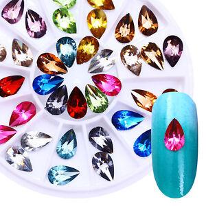 Bunt-Kristall-Nagel-Strasssteine-3D-Nagel-Dekoration-im-Rad-Wassertropfen-DIY