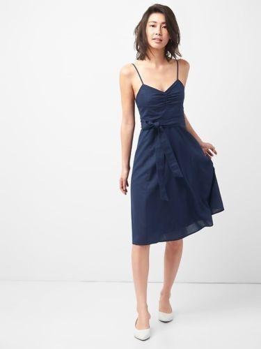 82ad256f4e404 Gap Fit and Flare Cami Dress in Linen-cotton- Dark Night Sz 4