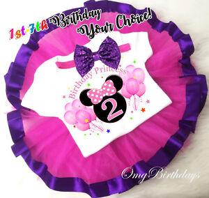 a30941a86 Minnie Mouse Purple Hot PInk Tutu Shirt Headband Set Girl Birthday ...