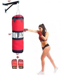4ft Filled Heavy Punch Bag Gloves,Chains,Bracket,Kick Boxing UFC Martial Arts