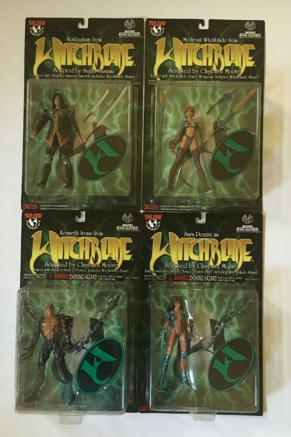 4 lot WITCHBLADE Action Figures Set 1998 Moore Action Collectibles Top Cow