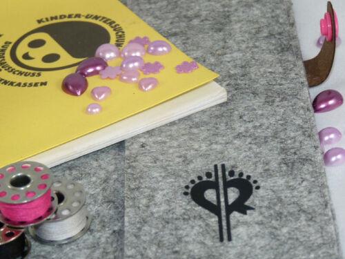 U-Heft Hülle Buttons mit Babyfüsse in Rosa und rosa Uheft Impfpass