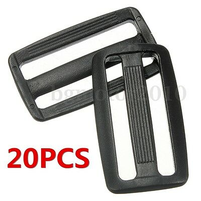 20pcs Plastic 3 Bar Slides Tri Glide Fasteners Buckles For 50mm Webbing Strap US