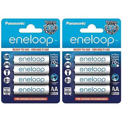 8x Panasonic Eneloop AA Rechargeable LSD NiMH Batteries - 4th Gen