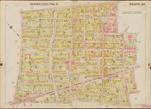 1908 JERSEY CITY HUDSON COUNTY NEW JERSEY WEST SIDE PARK PS12,16,17,18 ATLAS MAP