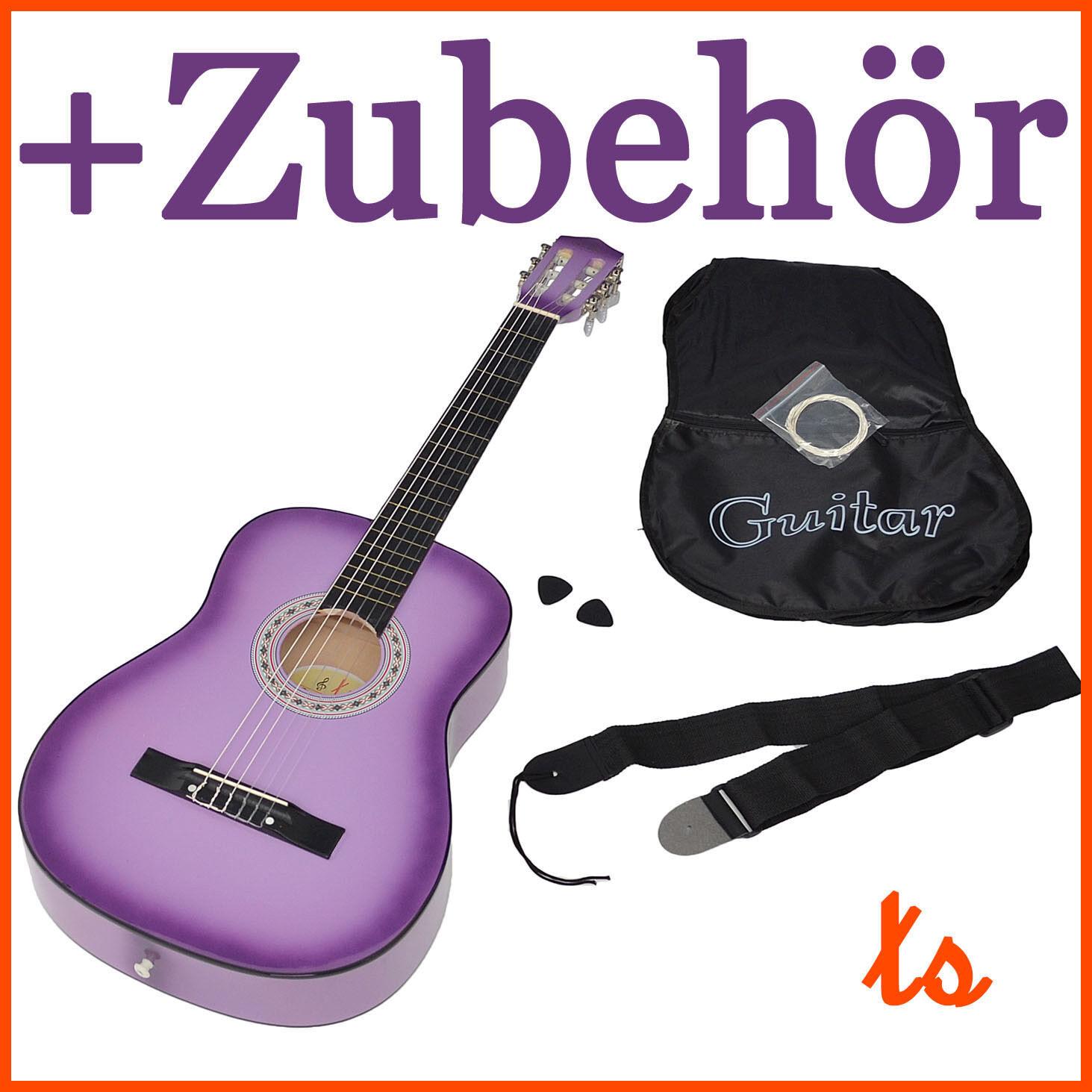Akustik Klassik Gitarre Konzertgitarre Lila Gitarre mit Zubehör + Tasche + Gurt