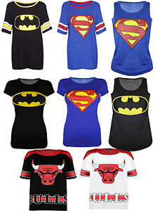 Superman-Batman-Bulls-Print-New-Ladies-Women-039-s-Varsity-Baseball-T-Shirt-Top