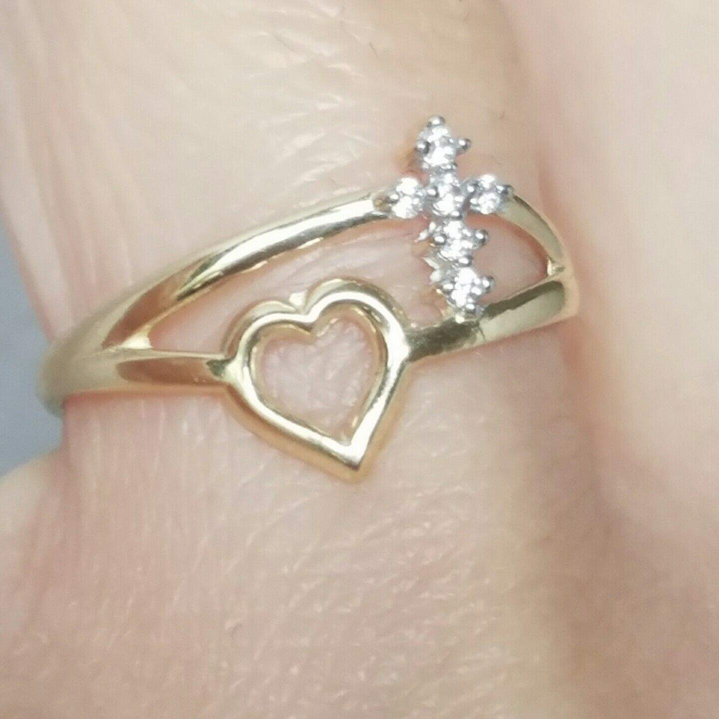 .15 carat Woman's solid 10k yellow gold gold Cross heart Ring S 6.5