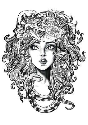 3 Woman Sexy Medusa Hair Wild Snake Flower Biker Helmet