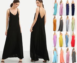 aa3a69ab87c0 S-3X Women s Maxi Dress Long Casual Sleeveless Cami Loose Oversized ...