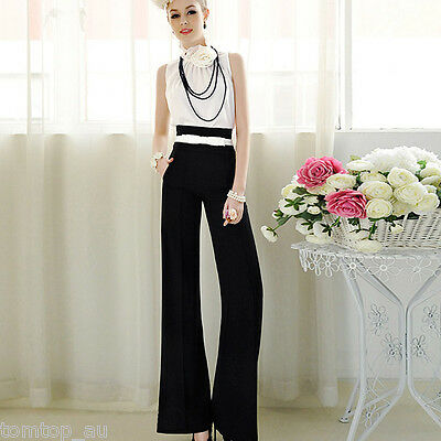 Women Sexy High Waist Flare Wide Leg Long Pants Fashion Casual Palazzo Trousers