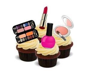 Image Is Loading Novelty Glamourous Makeup Mix 12 Standups Edible Cake