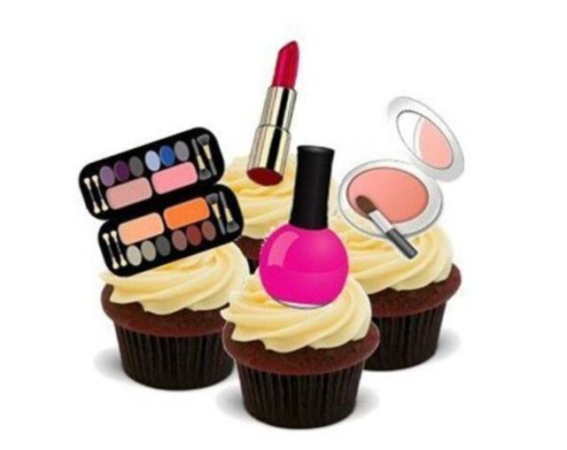 Novelty Glamourous Makeup Mix 12 Standups Edible Cake Toppers Lipstick Birthday
