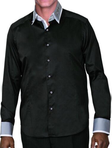 Men/'s Silk Cotton Dress Shirt w// Two Tone Double Layer Contrast Collar #605