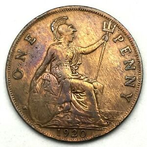 1920-GREAT-BRITAIN-GEORGE-V-ONE-PENNY-BRONZE-COIN-KM-810