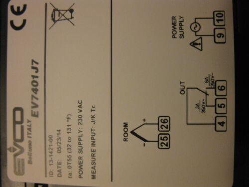 TC REPLACE ELIWELL EW7210 DIGITAL THERMOSTAT EVCO EV7401J7  230V  FOR J OR K