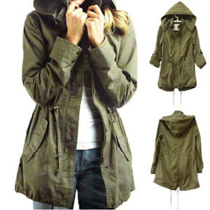 US Womens Hoodie Drawstring Army Green Military Trench Parka ...