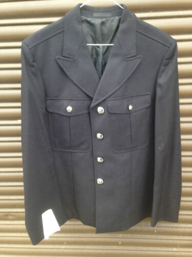 BRITISH GOVERNMENT,UK POLICE SURPLUS BLACK FORMAL DRESS UNIFORM TUNIC /& BUTTONS